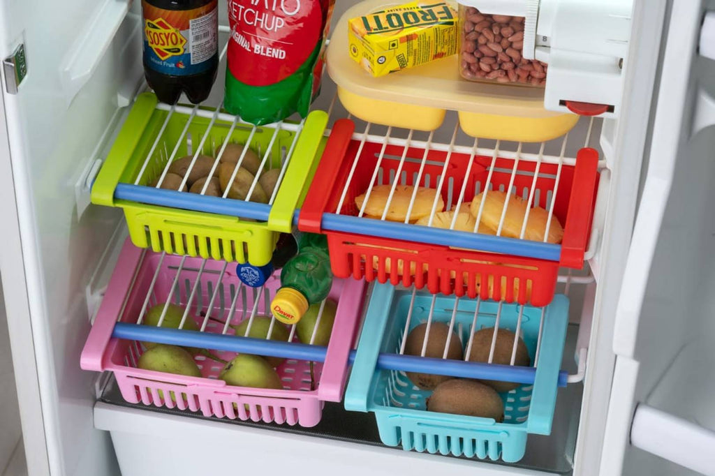Adjustable Sliding Drawer Fridge Storage Rack