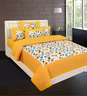 Designer Yellow Cotton Abstract Double Bedsheet with 2 Pillow Covers