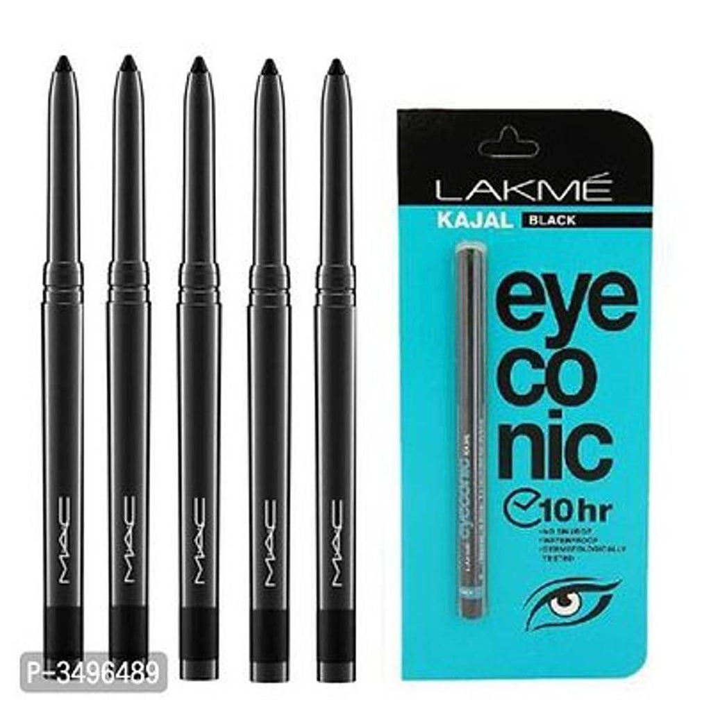 Mac Combo Of Lakme Iconic Kajal & 5 Kajal Pencil Black