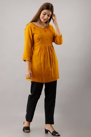 Stylish Rayon Mustard Embroidered Tunic
