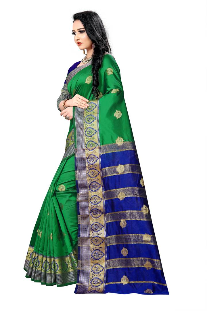 Women's Beautiful Green Embroidered Lichi Silk Saree with Blouse piece