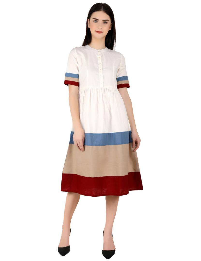Elegant Multicoloured Colourblocked Cotton Blend Fit And Flare Dress For Women