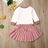 Autumn Winter Baby Girl Toddler Kids Outfit Heart Shaped Leopard Print Long Sleeve Shirt Pleated Velvet Skirts Clothes