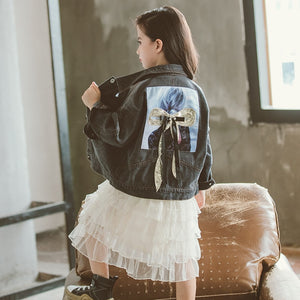 3D bow Denim jacket