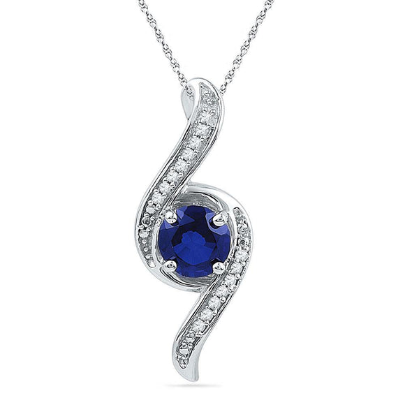 Sterling Silver Womens Round Lab-Created Blue Sapphire Solitaire Pendant 1 Cttw