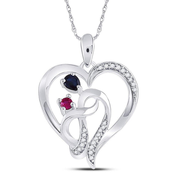 Sterling Silver Womens Oval Lab-Created Blue Sapphire Ruby Heart Pendant 3/8 Cttw