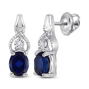 Sterling Silver Womens Oval Lab-Created Blue Sapphire Fashion Earrings 7/8 Cttw