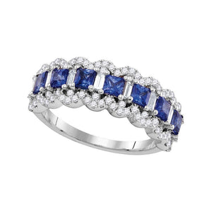 18kt White Gold Womens Princess Blue Sapphire Band Ring 1-3/4 Cttw