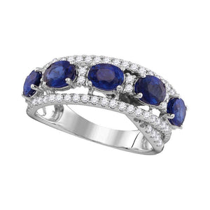 18kt White Gold Womens Round Blue Sapphire Diamond Fashion Band Ring 2-7/8 Cttw