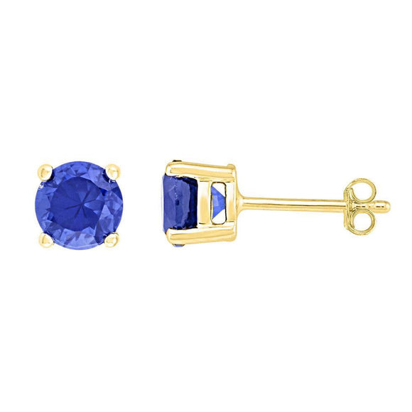 10kt Yellow Gold Womens Round Lab-Created Blue Sapphire Solitaire Earrings 2 Cttw