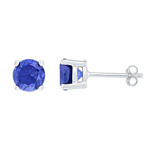 10kt White Gold Womens Round Lab-Created Blue Sapphire Solitaire Earrings 2 Cttw