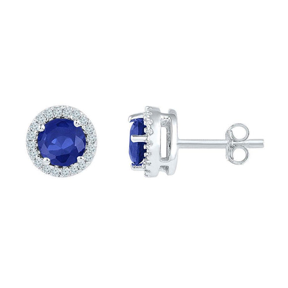 10kt White Gold Womens Round Lab-Created Blue Sapphire Diamond Stud Earrings 1-1/2 Cttw