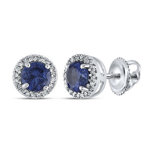 Sterling Silver Womens Round Lab-Created Blue Sapphire Stud Earrings 1-1/2 Cttw