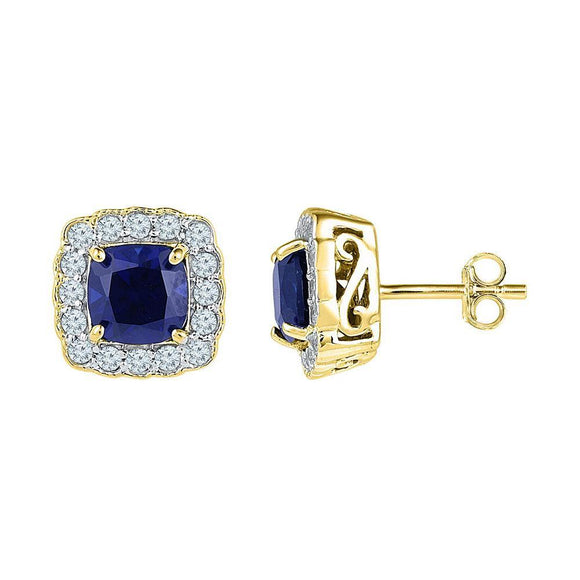 10kt Yellow Gold Womens Cushion Lab-Created Blue Sapphire Stud Earrings 3-1/3 Cttw