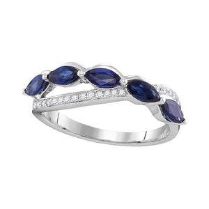 14kt White Gold Womens Marquise Blue Sapphire Diamond Band Ring 1 Cttw