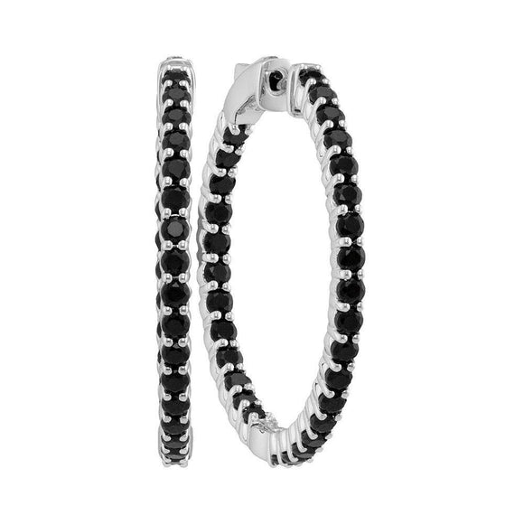 14kt White Gold Womens Round Pave-set Black Sapphire Inside Outside Hoop Earrings 3-3/4 Cttw