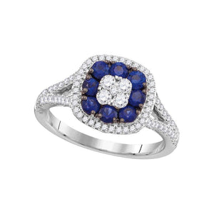 18kt White Gold Womens Round Lab-Created Blue Sapphire Cluster Ring 1-1/5 Cttw