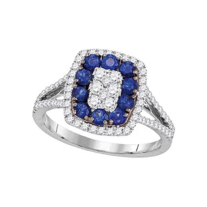 18kt White Gold Womens Round Blue Sapphire Diamond Cluster Ring 1 Cttw