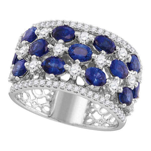 18kt White Gold Womens Oval Blue Sapphire Checkered Band Ring 3-7/8 Cttw