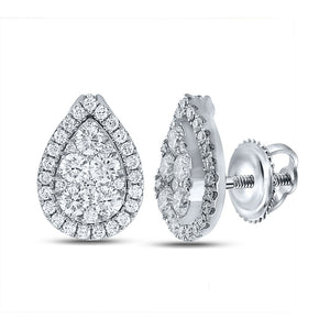 QueensDiamond 18kt White Gold Womens Round Diamond Teardrop Cluster Earrings 1-1/2 Cttw - Queens Diamond & Jewelry