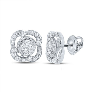 18kt White Gold Womens Round Diamond Cluster Earrings 1 Cttw