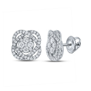 QueensDiamond 18kt White Gold Womens Round Diamond Cluster Earrings 7/8 Cttw - Queens Diamond & Jewelry