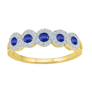 10kt Yellow Gold Womens Round Lab-Created Blue Sapphire Band Ring 1/2 Cttw Size 10