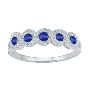 10kt White Gold Womens Round Lab-Created Blue Sapphire Band Ring 1/2 Cttw Size 11