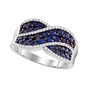 10kt White Gold Womens Round Blue Sapphire Crossover Band Ring 1-1/2 Cttw