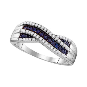 10kt White Gold Womens Round Blue Sapphire Crossover Band Ring 1/3 Cttw