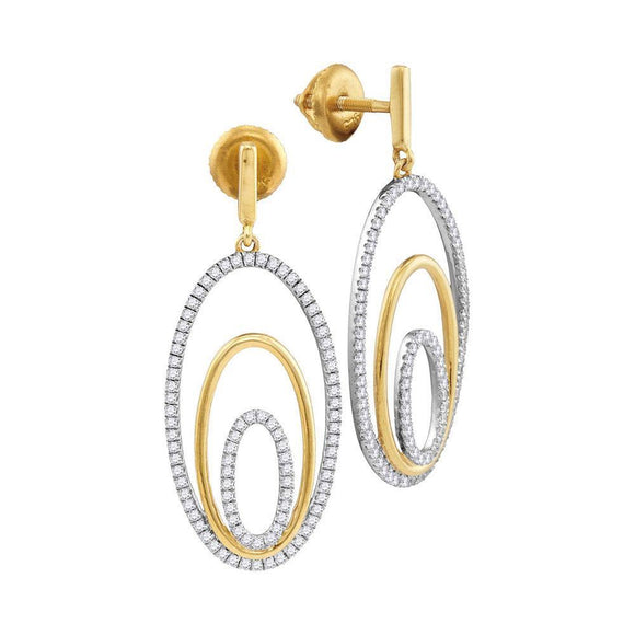 10kt Two-tone Gold Womens Round Diamond Oval Dangle Earrings 1/2 Cttw