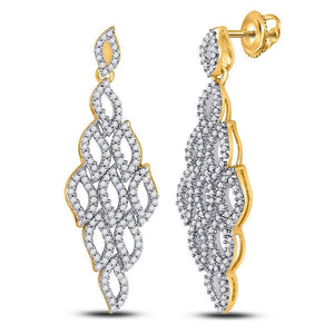 10kt Yellow Gold Womens Round Diamond Symmetrical Dangle Earrings 3/4 Cttw