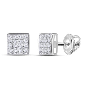 QueensDiamond 14kt White Gold Womens Princess Diamond Square Earrings 3/8 Cttw - Queens Diamond & Jewelry