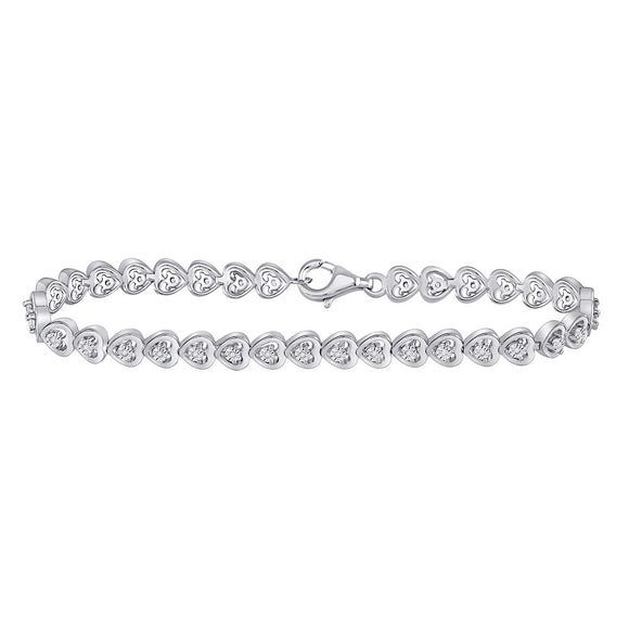 Sterling Silver Womens Round Diamond Heart Tennis Bracelet 1/6 Cttw