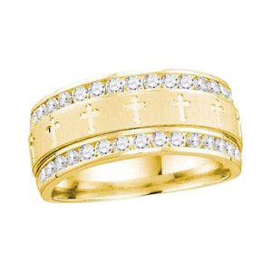 14kt Yellow Gold Mens Round Diamond Wedding Cross Band Ring 1/4 Cttw