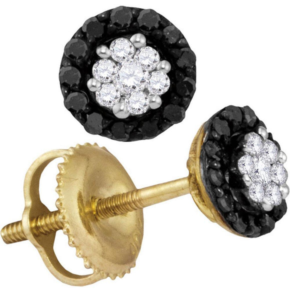 10kt Yellow Gold Womens Round Black Color Enhanced Diamond Cluster Earrings 1/4 Cttw