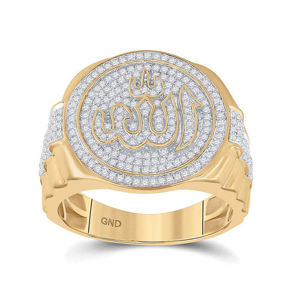 10kt Yellow Gold Mens Round Diamond Allah Islam Circle Ring 3/4 Cttw