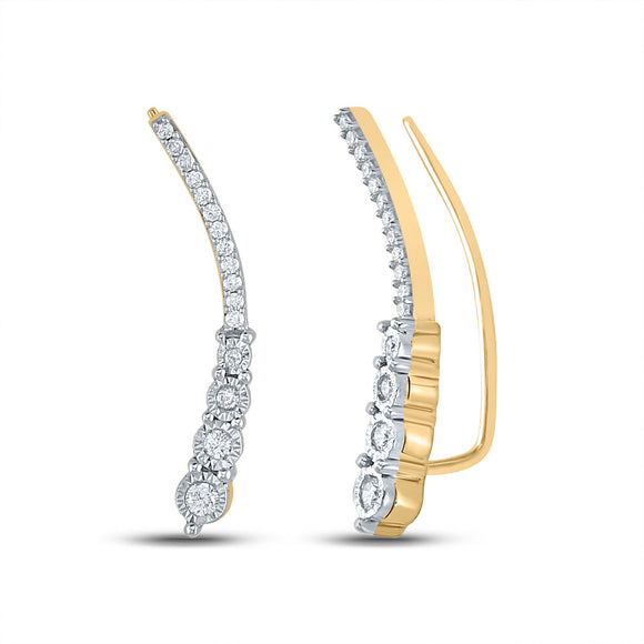 Yellow-tone Sterling Silver Womens Round Diamond Climber Earrings 1/4 Cttw