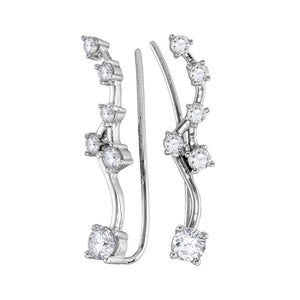 QueensDiamond 10kt White Gold Womens Round Diamond Climber Earrings 3/4 Cttw - Queens Diamond & Jewelry