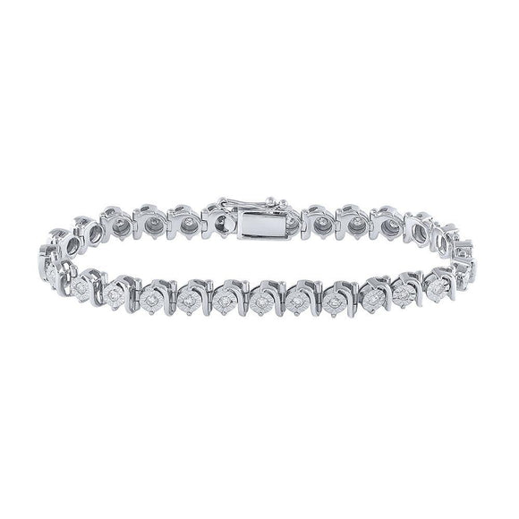 Sterling Silver Womens Round Diamond Fashion Bracelet 1 Cttw