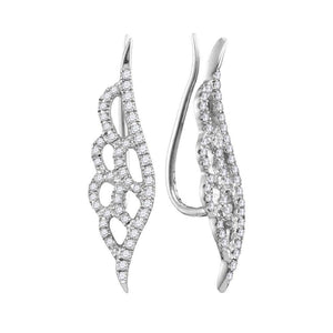 QueensDiamond 10kt White Gold Womens Round Diamond Winged Climber Earrings 1/3 Cttw - Queens Diamond & Jewelry