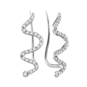 QueensDiamond 10kt White Gold Womens Round Diamond Snake Climber Earrings 1/6 Cttw - Queens Diamond & Jewelry