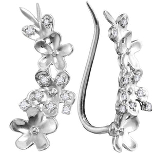 QueensDiamond 10kt White Gold Womens Round Diamond Floral Climber Earrings 1/10 Cttw - Queens Diamond & Jewelry