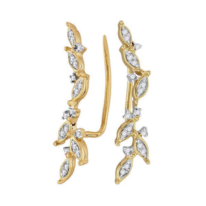 QueensDiamond 10kt Yellow Gold Womens Round Diamond Climber Earrings 1/5 Cttw - Queens Diamond & Jewelry