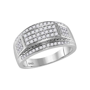 10kt White Gold Mens Round Diamond Wedding Band Ring 1 Cttw