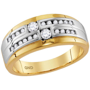 10kt Two-tone Gold Mens Round Diamond 2-stone Wedding Ring 1/2 Cttw