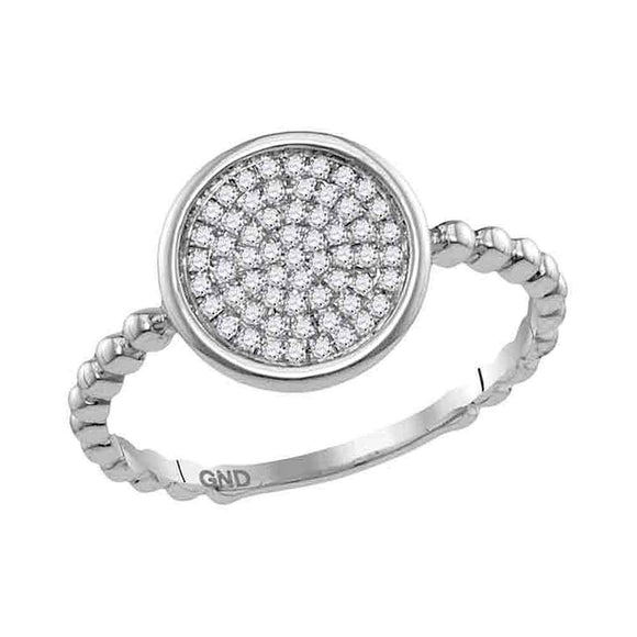 10kt White Gold Womens Round Diamond Cluster Circle Ring 1/8 Cttw