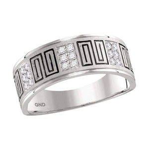 14kt White Gold Mens Round Diamond Wedding Band Ring 1/4 Cttw