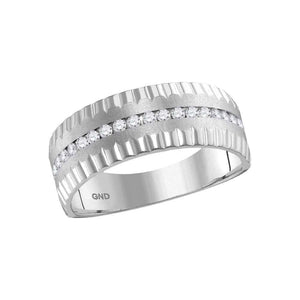 14kt White Gold Mens Round Diamond Wedding Machine-Set Band Ring 1/3 Cttw