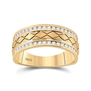 14kt Yellow Gold Mens Round Diamond Wedding Band Ring 1/2 Cttw